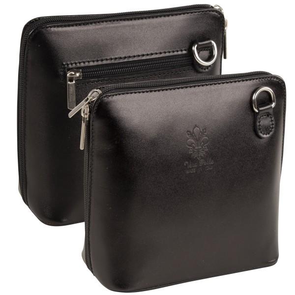 Italienische Damen Handtaschen aus Echtleder Damentasche Henkeltasche Italy Schwarz
