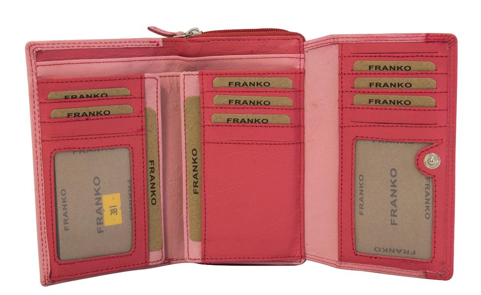 e4b6ed99a5d02 ... Vorschau  Damen Geldbeutel aus Leder vielen Kartenfächern Geldbörse  Portemonnaie Pink Rosa 381 ...