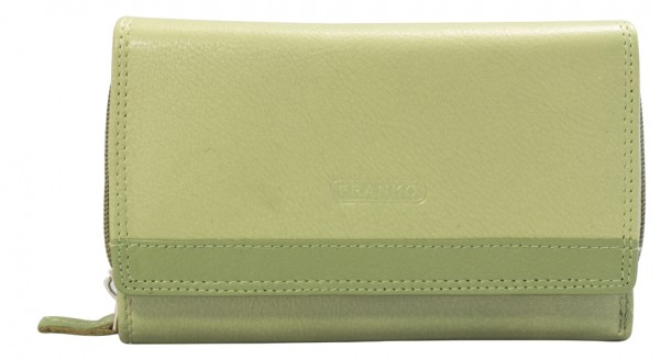 Minzgrüne Damen Geldbeutel aus Leder vielen Kartenfächern Geldbörse Portemonnaie 381