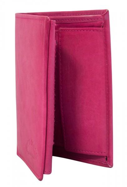 Preiswerte Herren Geldbörse aus Leder Hochformat in Pink TR35