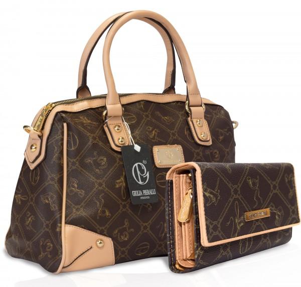 SET Giulia Pieralli Damen Handtasche + Geldbörse Damentasche 2622B in Braun