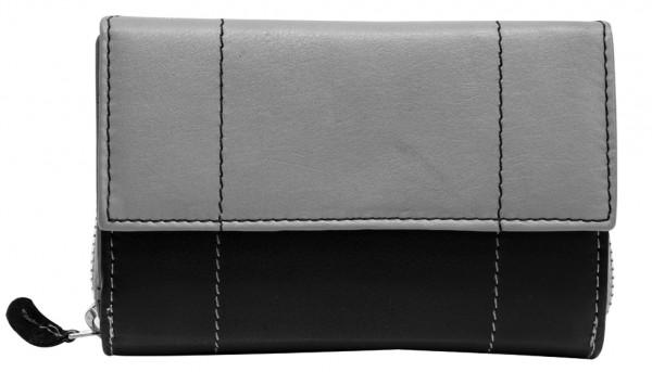 Graue Damen Geldbeutel aus weichem Rindsleder mit Druckknopf und Reißverschluss BB05