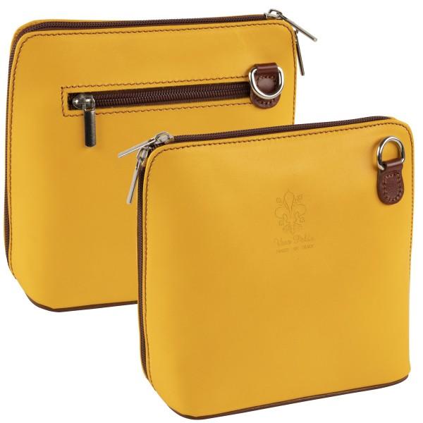 Italienische Damen Handtaschen aus Echtleder Damentasche Henkeltasche Italy Gelb