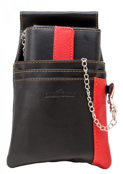 Blue Burry Kellnerbörse Schwarz Rot Kunstleder SET bestehend aus Geldbörse Holster und Kette