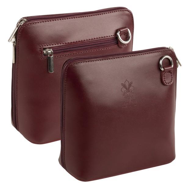 Italienische Damen Handtaschen aus Echtleder Damentasche Henkeltasche Italy Weinrot