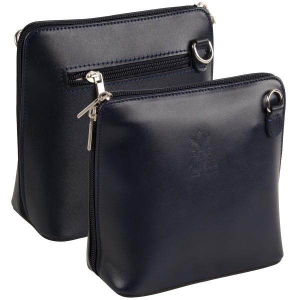 Italienische Damen Handtaschen aus Echtleder Damentasche Henkeltasche Italy Dunkelblau-Copy