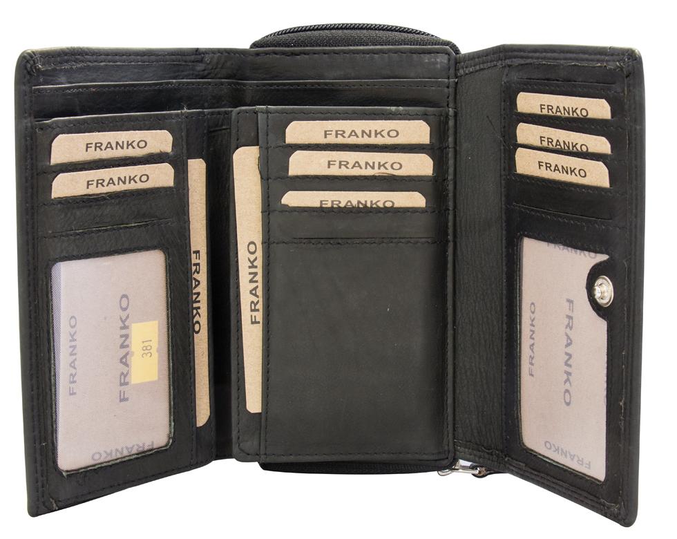 4a329686a6b88f ... Vorschau: Schwarze Damen Geldbeutel aus Leder vielen Kartenfächern  Geldbörse Portemonnaie Schwarz 381 ...