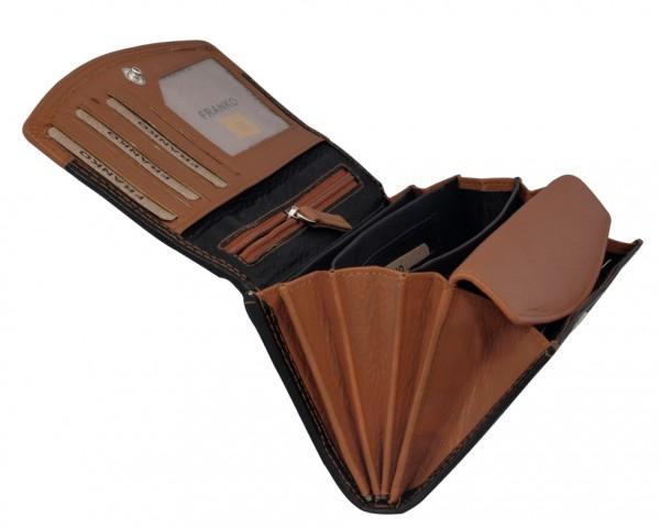 Braune Schwarze Damen Geldbeutel aus weichem Leder Lang mit vielen Kartenfächer 378