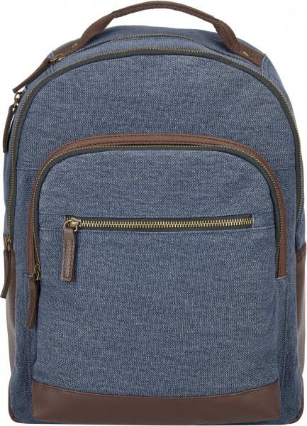 BS16478 Daypack – Edinburgh Blauer Canvas-Rucksack im Vintage-Look