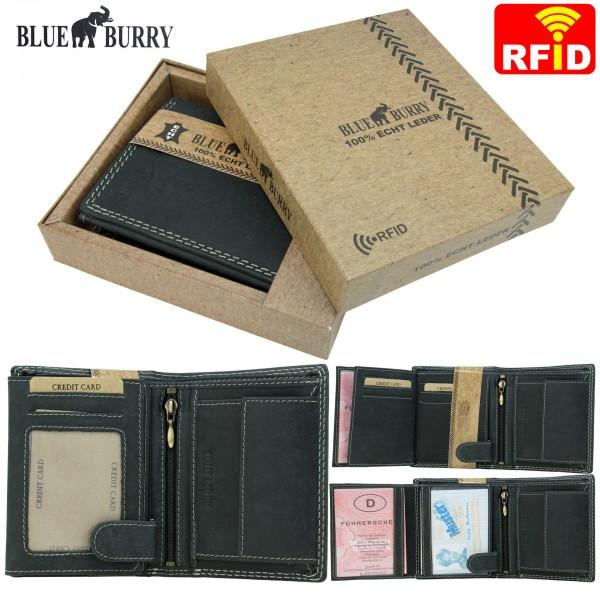 RFID Männer Portemonnaie aus Leder von Blue Burry RF01 in Schwarz