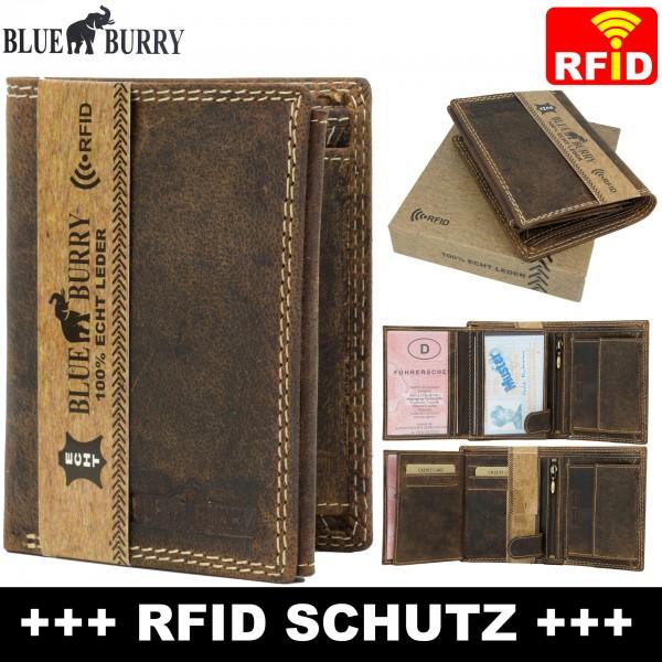 RFID Männer Portemonnaie aus Leder von Blue Burry RF01 in Dunkelbraun