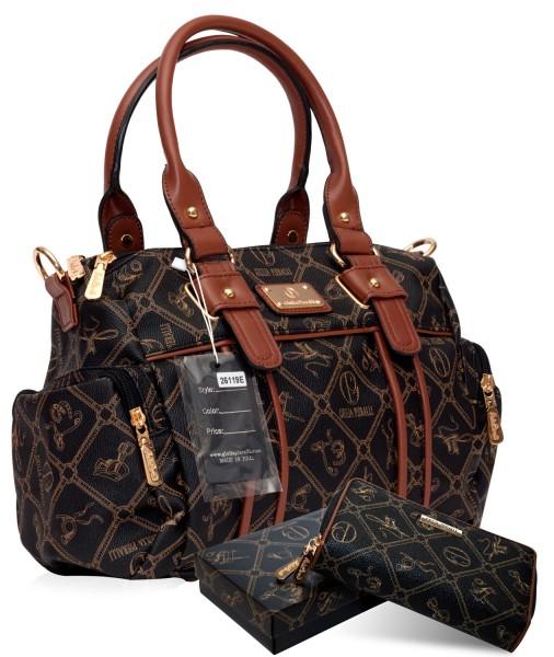 SET Damen Handtasche + Damen Geldbörse Giulia Pieralli 26119E Marrone