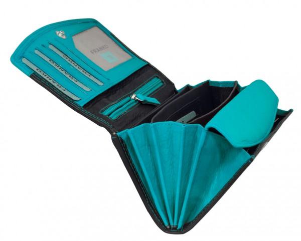 Blaue Schwarze Damen Geldbeutel aus weichem Leder Lang mit vielen Kartenfächer 378