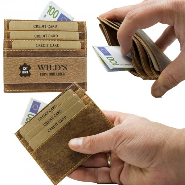 Slim Wallet Vintage Leder Kartenhalter Brieftasche Portemonnaie Hellbraun