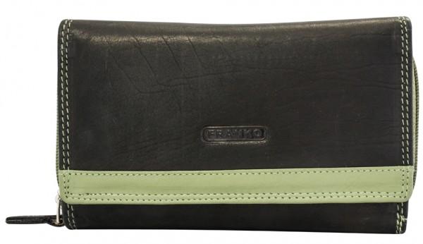 Damen Geldbeutel aus Leder vielen Kartenfächern Geldbörse Portemonnaie Schwarz-Minzgrün 381