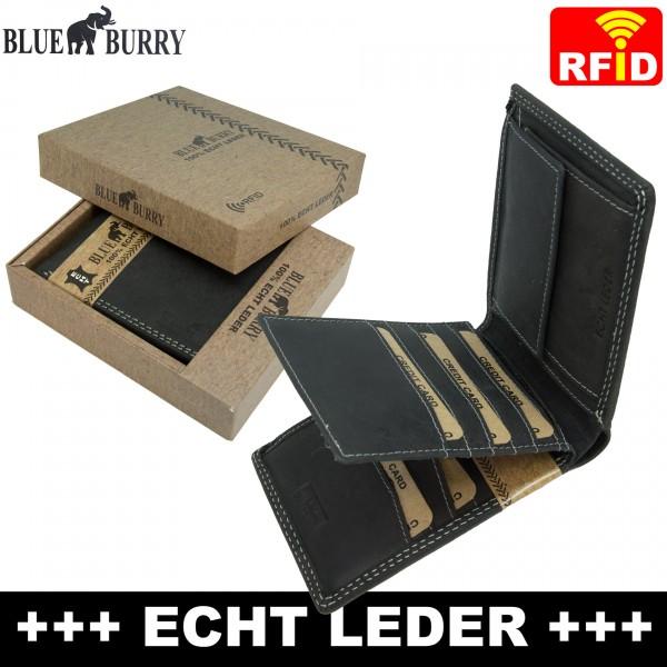 Premium Herren Portemonnaie aus Leder mit RFID-Schutz RF05 Schwarz