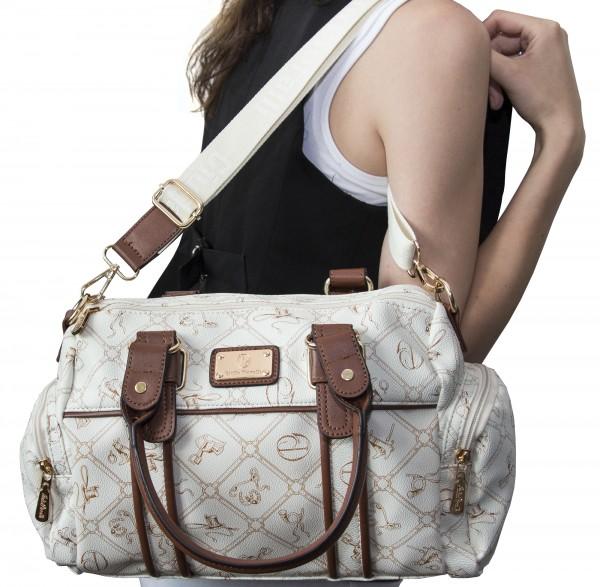 Damen Handtasche Damentaschen Giulia Pieralli 26119E Henkeltasche Creme