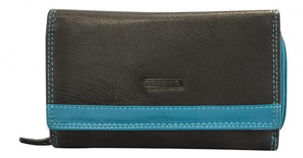 Damen Geldbeutel aus Leder vielen Kartenfächern Geldbörse Portemonnaie Schwarz-Blau 381