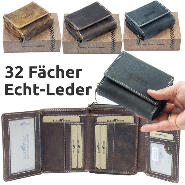 Damen Geldbörse aus Leder viele Fächer Vintage-Leder Portemonnaie MH-BB1703