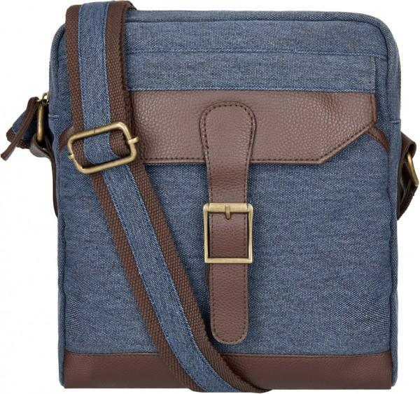 BS16476 Small Messenger Bag – Oxford Street Blaue Canvas-Umhänge-Tasche im Vintage-Look