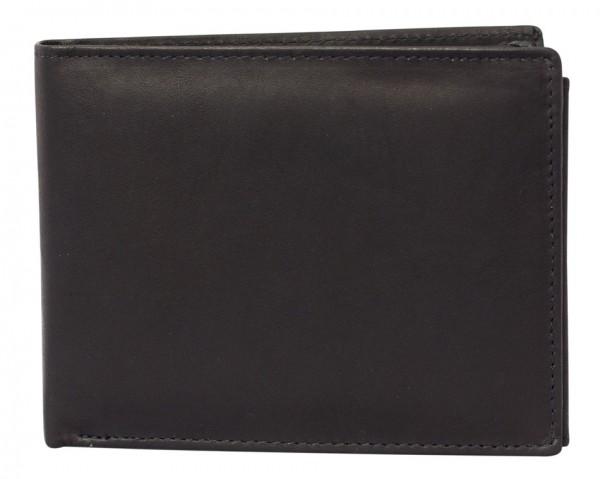 Schwarze Preiswerte Herren Geldbörse aus Rind Leder in Querformat Schwarz