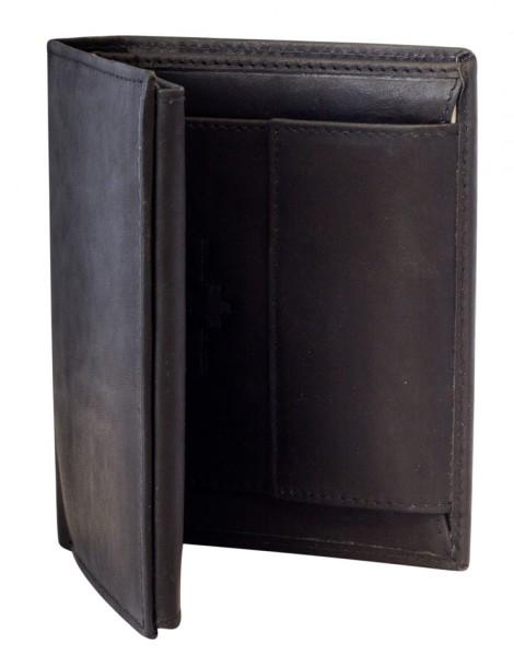 Preiswerte Herren Geldbörse aus Leder Hochformat in Schwarz TR35
