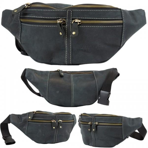 Wild's Herren Bauchtasche Vintage Leder Männer Hüfttasche 2506 Schwarz