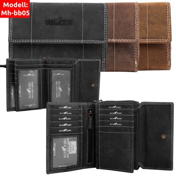 Damen Geldbörse aus Leder viele Fächer Vintage-Leder Portemonnaie MH-BB05
