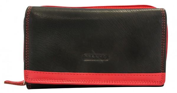 Damen Geldbeutel aus Leder vielen Kartenfächern Geldbörse Portemonnaie Schwarz Rot 381