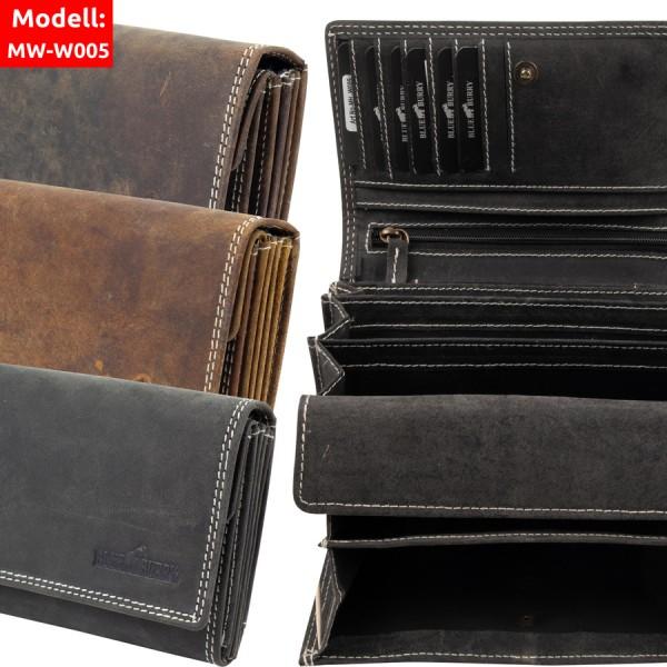 Damen Geldbörse aus Leder viele Fächer Vintage-Leder Portemonnaie MH-W005