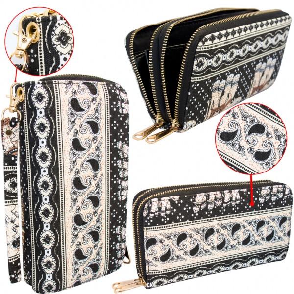 Damen Geldbörse Schwarz Stoff - bedruckt 22 cm Portemonnaie Geldtasche