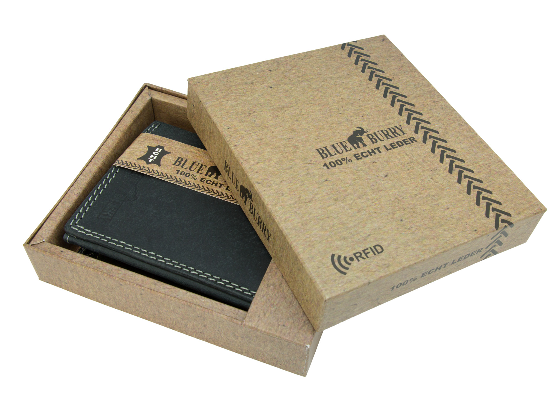 028d0054a0384 ... Vorschau  RFID Männer Portemonnaie aus Leder von Blue Burry RF01 in  Schwarz