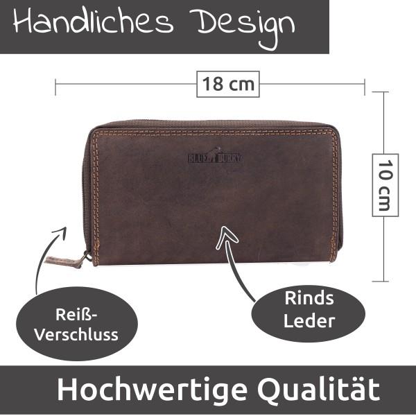 Damen Geldbörse aus Leder viele Fächer Vintage-Leder Portemonnaie W009 Braun