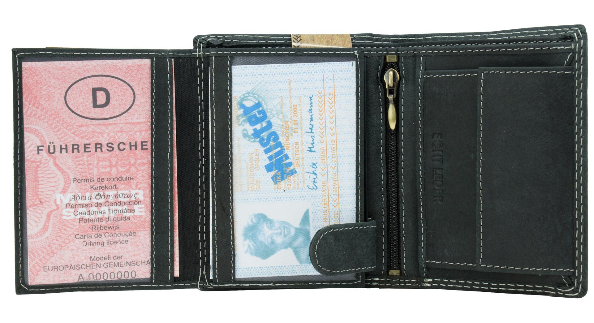 32459b5737c88 ... Vorschau  RFID Männer Portemonnaie aus Leder von Blue Burry RF01 in  Schwarz ...