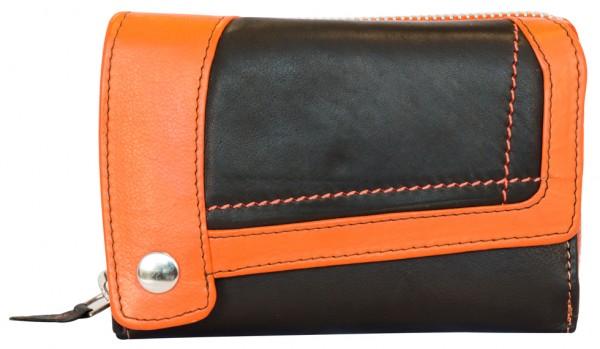 Designer Damen Leder Geldbeutel Portemonnaie 25 Fächer BB14 Schwarz Orange