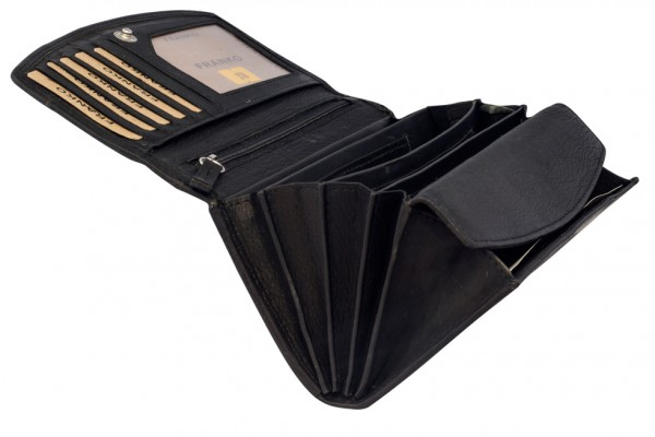 Schwarze Damen Geldbeutel aus weichem Leder Lang mit vielen Kartenfächer 378