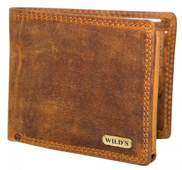 Herren Geldbeutel aus Vintage Leder Querformat Hellbraun Modell Wilds 1598