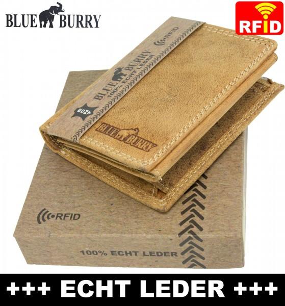 RFID Männer Portemonnaie aus Leder von Blue Burry RF01 in Hellbraun