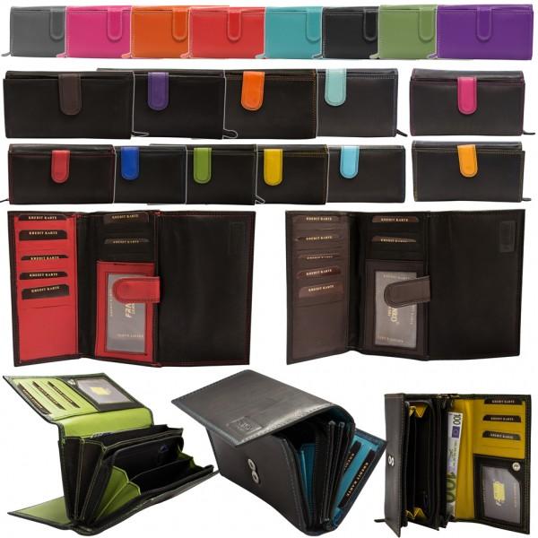 Damen Geldbörse Leder Lang mit viele Kreditkarten Beidseitig bedienbar BB11
