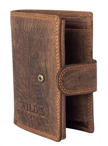 Herren Portemonnaie aus Leder Dunkelbraun W01L mit Clippverschluss Geldbörse Brieftasche