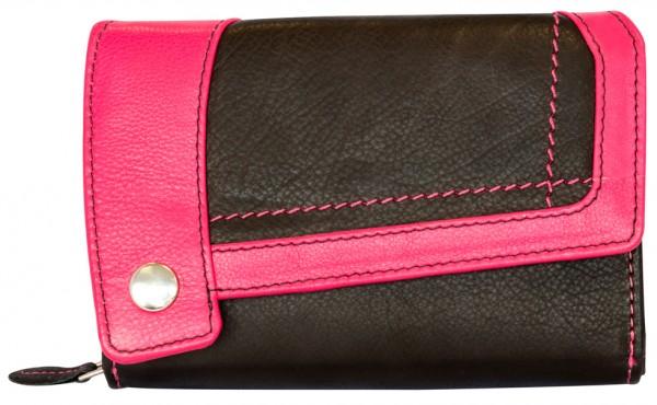 Designer Damen Leder Geldbeutel Portemonnaie 25 Fächer BB14 Schwarz Pink