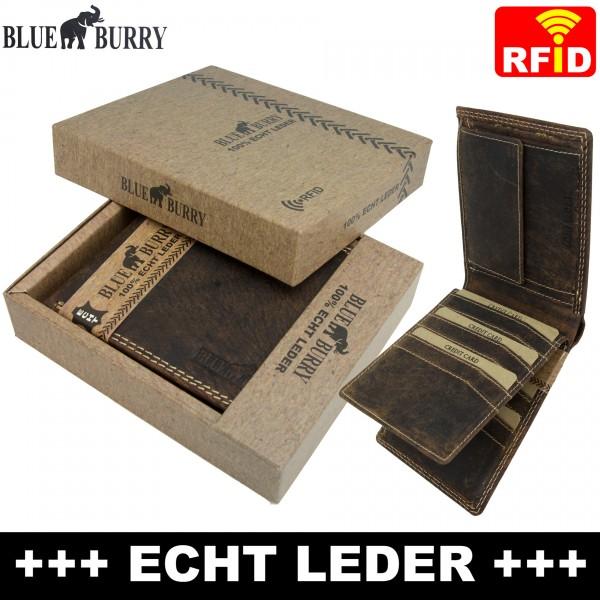 Premium Herren Portemonnaie aus Leder mit RFID-Schutz RF05 Dunkelbraun