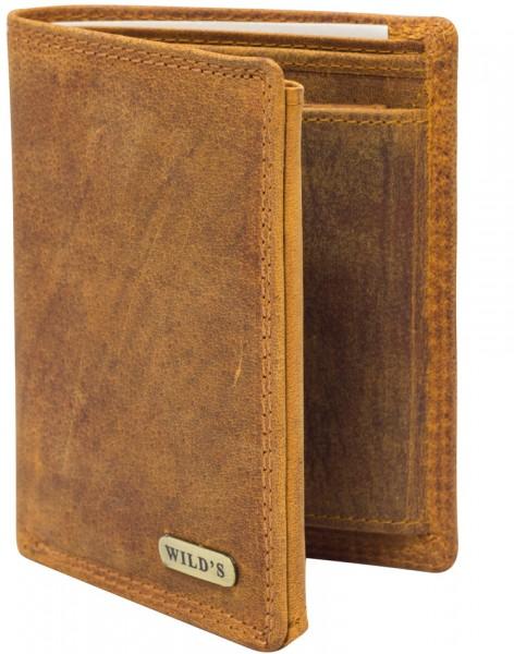 Herren Geldbeutel aus Vintage Leder Hochformat Hellbraun Modell Wilds 1599