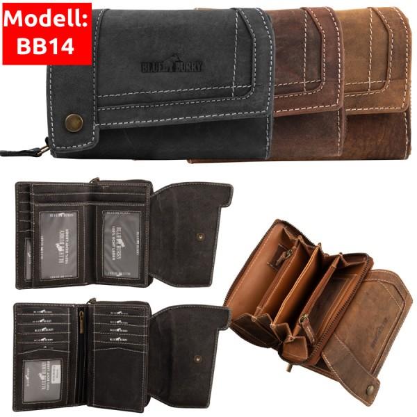 Damen Geldbörse aus Leder viele Fächer Vintage-Leder Portemonnaie MH-BB14