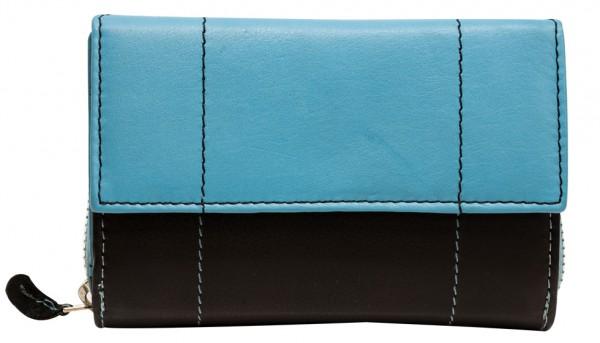 Blau Schwarze Damen Geldbeutel aus weichem Rindsleder mit Druckknopf und Reißverschluss BB05