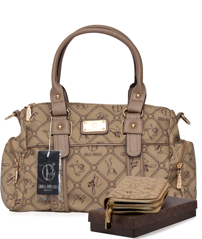 45796cf4b4134 SET Damen Handtasche + Damen Geldbörse Giulia Pieralli 26119E Karamell