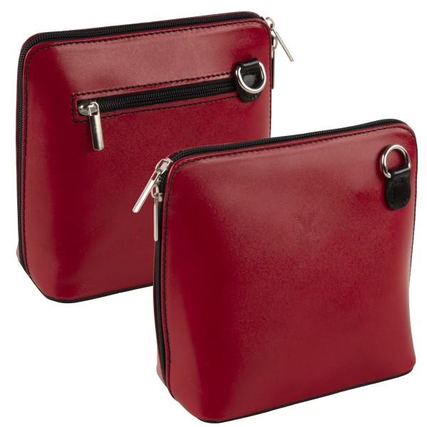 Italienische Damen Handtaschen aus Echtleder Damentasche Henkeltasche Italy Rot-Schwarz