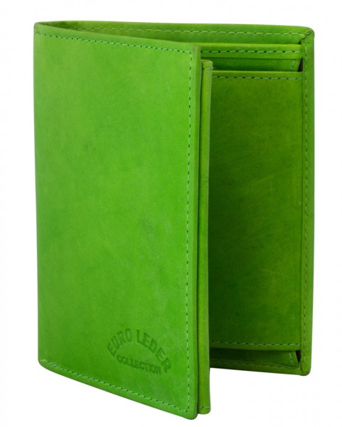Preiswerte Herren Geldbörse aus Leder Hochformat in Grün TR35