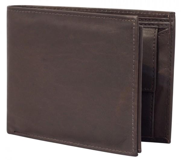 Dunkelbraune Preiswerte Herren Geldbörse aus Rind Leder in Querformat Dunkelbraun