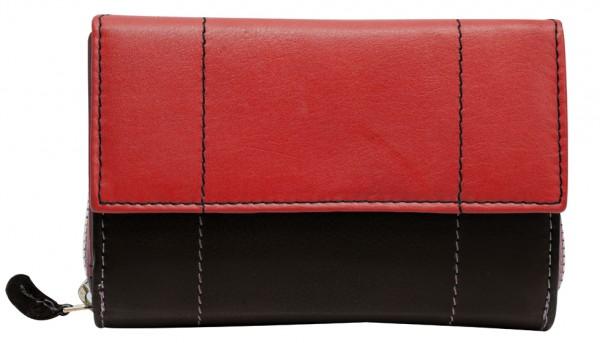 Rot Schwarze Damen Geldbeutel aus weichem Rindsleder mit Druckknopf und Reißverschluss BB05